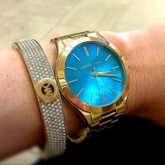 7947f10603d01 MichaelKors Slim Runway Blue Mother Of Pearl Watch